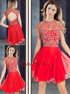 2016 Sexy Scoop Beaded Red Short Prom Dress with Cap Sleeves