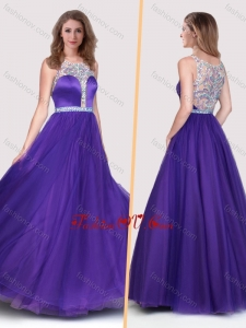 2016 Sexy See Through Scoop Empire Purple Prom Dress with Beading