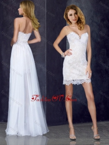 2016 Short Inside Long Outside Laced White Prom Dress