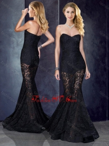 2016 Short Inside Long Outside Mermaid Black Prom Dress in Lace