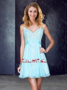 2016 Simple Straps Backless Beaded and Applique Prom Dress in Light Blue
