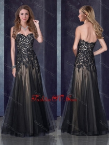 2016 Top Selling Empire Applique Black Prom Dress in Tulle