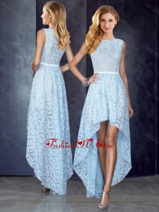 2016 Bateau High Low Light Blue Vintage Prom Dress in Lace