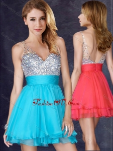 2016 Beautiful A Line V Neck Sequined Aqua Blue Short Vintage Prom Dress