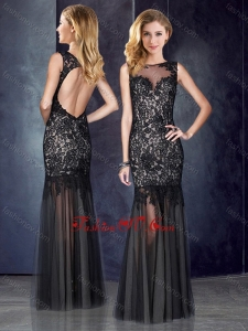 2016 Custom Fit Column Bateau Laced Backless Black Vintage Prom Dress