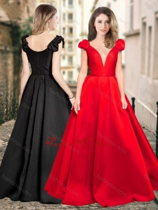 2016 Exclusive Cap Sleeves Satin Vintage Prom Dress with Deep V Neckline