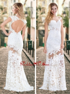 2016 Gorgeous See Through Brush Train Laced White Vintage Prom Dress with Cap Sleeves