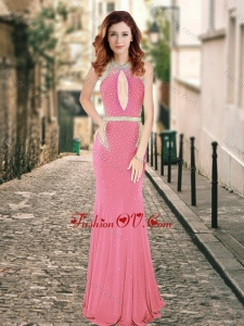 2016 High Neck Beaded Backless Pink Vintage Prom Dress with Brush Train