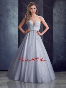 2016 Latest See Through A Line Belted with Beading Vintage Prom Dress in Grey