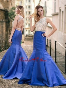 2016 Mermaid Backless Beaded Royal Blue Vintage Prom Dress with Brush Train