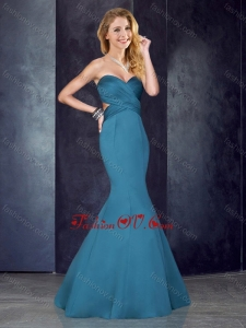 2016 Mermaid Sweetheart Backless Satin Vintage Prom Dress in Teal