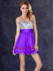 2016 New Arrivals Chiffon Backless Short Vintage Prom Dress in Purple