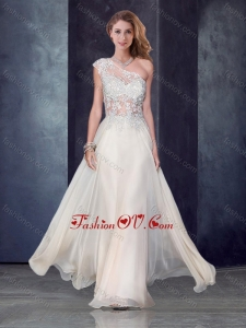 2016 One Shoulder Applique Champagne Vintage Prom Dress with See Through Back