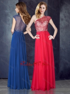 2016 One Shoulder Beaded Coral Red Vintage Prom Dress with See Through Back