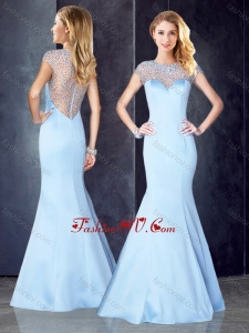 2016 See Through Back Beaded Light Blue Vintage Prom Dress with Cap Sleeves
