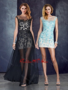 2016 Short Inside Long Outside Bateau Applique Light Blue Vintage Prom Dress in Black