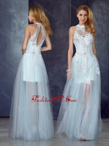 2016 Short Inside Long Outside High Neck Light Blue Vintage Prom Dress with Appliques and Beading