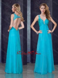 2016 Simple Empire Straps Beaded and Applique Vintage Prom Dress in Teal