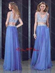 2016 Two Piece Column Straps Applique Vintage Prom Dress in Chiffon