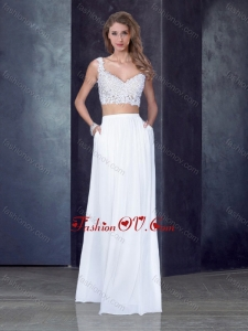 2016 Two Piece Column Straps Applique Vintage Prom Dress in White