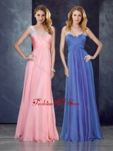 2016 V Neck Applique Baby Pink Vintage Prom Dress with See Through Back