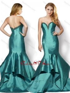 2016 Wonderful Brush Train Mermaid Taffeta Beaded Top Vintage Prom Dress in Teal