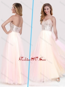 2016 Classical Beaded Bodice Empire Baby Pink Long Vintage Prom Dress in Tulle