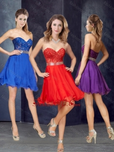 2016 Elegant A Line Laced and Belted Short Vintage Prom Dress in Chiffon