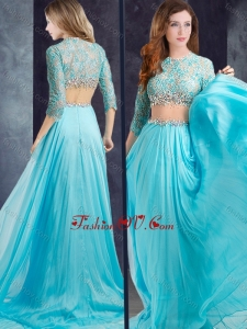 2016 Luxurious Brush Train See Through Vintage Prom Dress with Lace and Beading