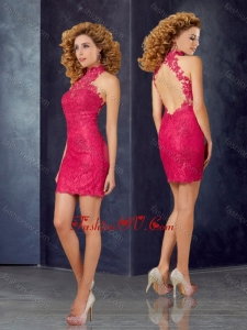 2016 New Style Column High Neck Laced Vintage Prom Dress with Open Back