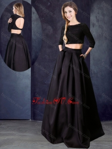 2016 Two Piece Bateau Beaded Black Vintage Prom Dress with Three Fourths Length Sleeves