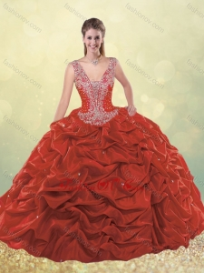 Cheap Beaded Bodice Straps Taffeta Quinceanera Dress with Bubbles