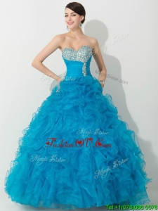 Princess Baby Blue Quinceanera Gown with Beading and Ruffles