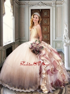 Ball Gown Strapless Champagne Sweet 16 Dress with Appliques and Ruffles