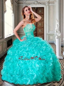 Ball Gown Turquoise Quinceanera Dresses with Beading and Ruffles