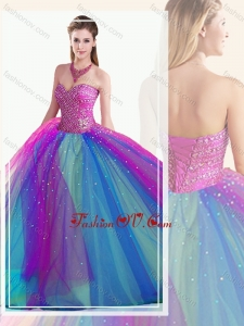 Custom Fit Multi Color Quinceanera Dress with Beading
