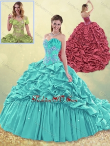 Exquisite Brush Train Taffeta Quinceanera Dress in Aqua Blue