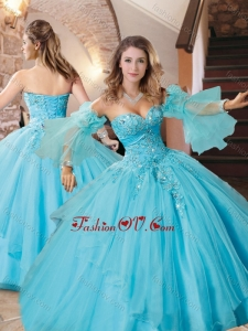 Exquisite Organza Applique with Beading Quinceanera Dress in Aqua Blue