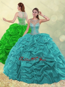 Pretty See Through Scoop Beaded and Bubble Green Quinceanera Dress