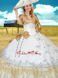 White and Champagne Sweet 16 Gown with Beading and Bowknot