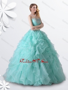 Princess Apple Green Quinceanera Gown with Beading and Ruffles