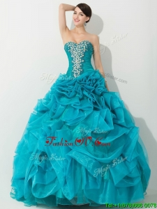 Princess Teal Sweet 16 Dress with Beading and Rolling Flowers