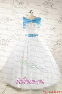 Appliques White Cheap Quinceanera Dresses with Wraps for 2015