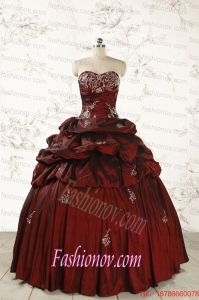 2015 Cheap Appliques Wine Red Quinceanera Dresses with Lace Up