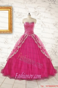 2015 Sweetheart Sweep Train Trendy Quinceanera Dresses with Sequins and Appliques