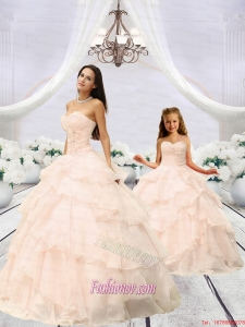 Affordable Beading and Ruching Princesita Dress in Champagne