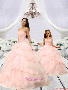 Fashionable Beading and Ruching Princesita Dress in Pink