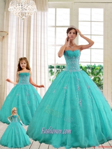2015 Luxurious Turquoise Princesita With Quinceanera Dresses with Beading