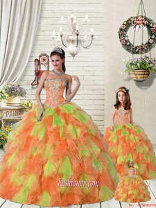 Top Seller Ruffles and Beading Orange Red and Green Princesita Dress for 2015