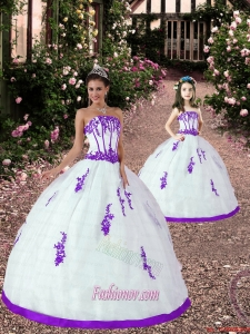 Fashionable Appliques White and Eggplant Purple Princesita Dress for 2015